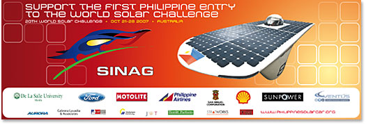 sinag poster: support the first philippine entry to the world solar challenge